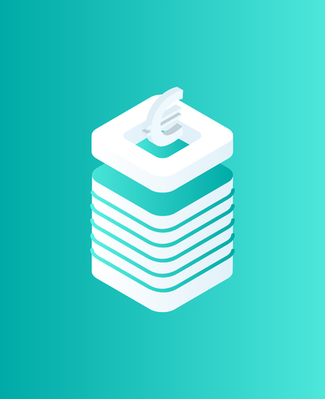 Blockchain euro currency isometric isolated icon 3d vector. European money cash logotype on top of plates making pedestal. Mining and investing coins Иллюстрация