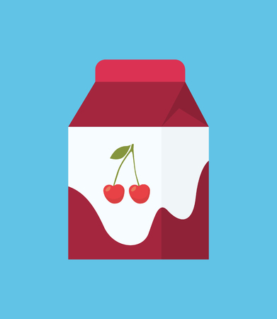 Yogurt in cartoon style icon isolated carton package. Dairy fermented milk beverage of cherry flavor in cardboard square pack, healthy food theme Foto de archivo - 127116120