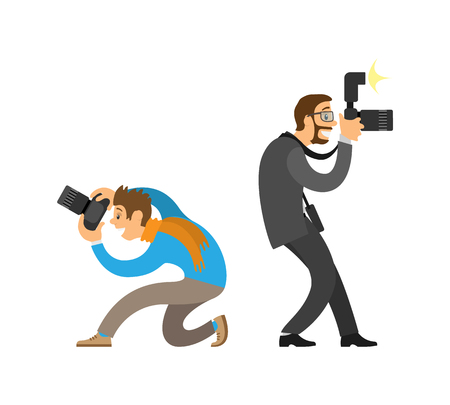 Photographer and paparazzi, modern cameras with flash. Man taking photo from bottom angle, journalist in glasses wearing suit vector illustrations.
