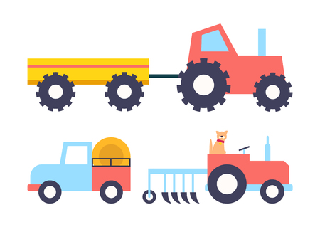 Cars with equipment working on farm cartoon vector icon. Tractor with empty trailer, truck with bales of hay and cat driving small machine with plow
