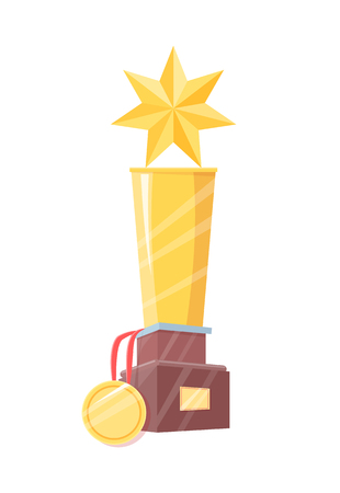 Gold winner statuette and medal with ribbon prize on wooden holder vector illustration isolated. Champ figurine with five-pointed star on top poster.