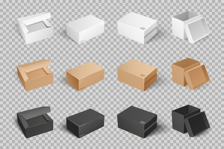 Parcel with adhesive tape 3D isometric icon vector set of white, brown and black boxes on transparent. Empty closed mockups, post containers for goods Vektorové ilustrace