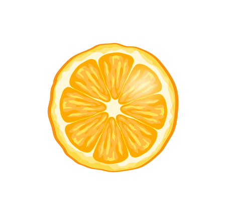 Orange fruit slice isolated icon closeup vector. Citrus refreshing fruit giving energy. Dessert natural organic product, ripe juicy food with vitamins Foto de archivo - 127116134