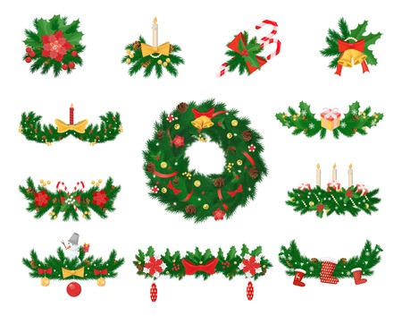 Christmas decoration of spruce, jingle bells, striped cane, ribbon or bow, holly flower and candles. Gift box, snowman, fir cone vector illustrations.