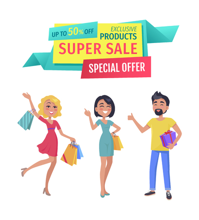 Exclusive products for super sale banner. Girls and boy shopaholic friends with purchases with promotional half price special offer advert caption.