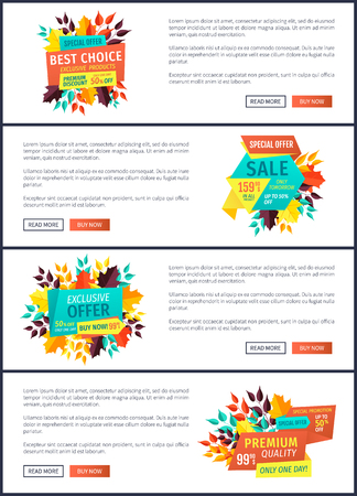 Best choice special autumn offer posters set. Seasonal proposition banners with autumnal leaves. Sales and discounts exclusive promo products vector