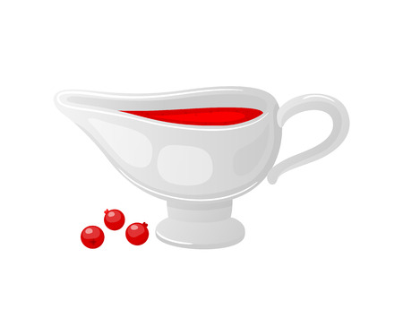 Cranberry sauce served in ceramic bowl and berries isolated icons set vector. Gravy and jam for main courses and dishes. Fruit homemade sweet liquid 일러스트