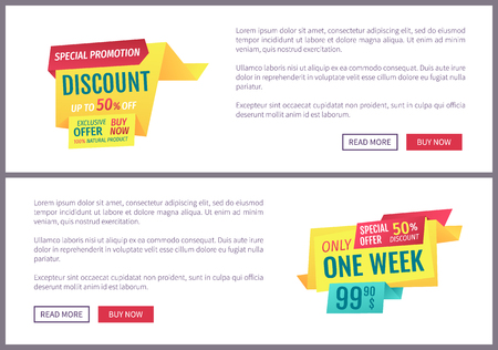 Special promotion discounts set. Only week super sale super offer for shopping people. Posters set with text sample natural products banners vector
