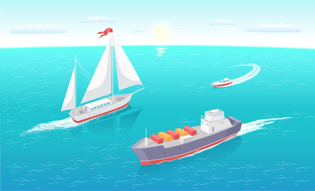 Cargo ship leaves trace in sea or ocean, marine commercial vessel. Modern yachts at seascape. Transportation boat full of containers export goods
