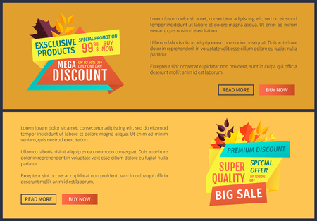 Exclusive product special promotion posters set. Super quality big sales best prices reduction of cost. Discounts with autumn propositions vector Stock Illustratie