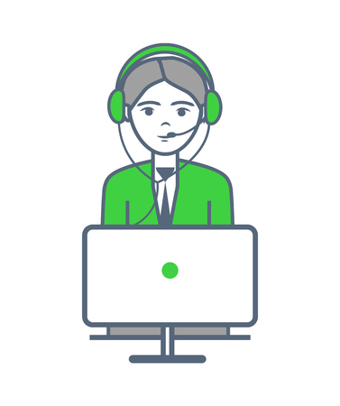 Male Person Wearing Headphones Isolated Vector
