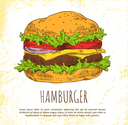Hamburger mit frischem Salat und Brötchen Farbbanner, isoliert auf hellem Hintergrund Vektorgrafik von Snacks mit saftigen Koteletts und Gemüse