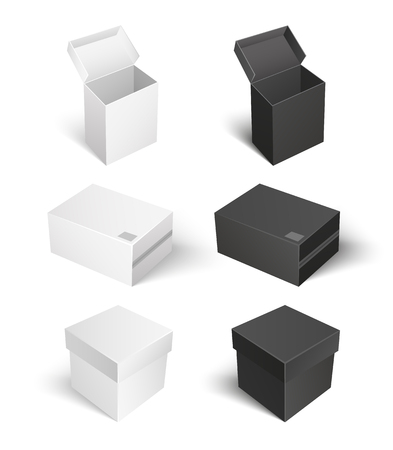 Package with caps empty containers isolated icons set vector. Square shaped carton boxes for products keeping and storage. Compact products shipping