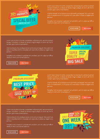 Exclusive offer special set of posters with text sample. Discount autumnal clearance proposition price reduction. Seasonal super quality sale vector