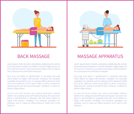 Back massage and apparatus machine posters with text sample vector. Masseuses using lotions and special equipments for skin care of male and female