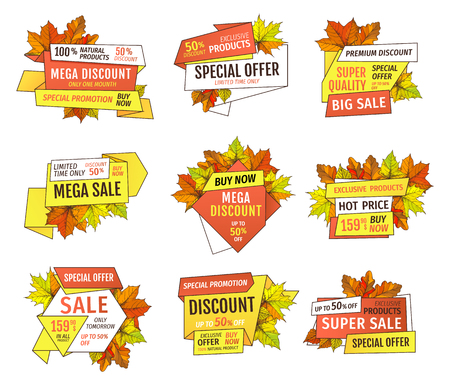 Thanksgiving offer only week at holidays. Exclusive price 99.90 promotional label with maple leaves, oak foliage autumn symbols advert emblems isolated vector