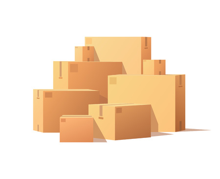 Pile Parcel Cardboard Boxes Stacked Sealed Goods Imagens