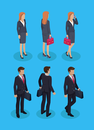 Woman and businessman set. People wearing suits classy formal wear. Male with briefcase and female talking on cell phone. Working man woman vector