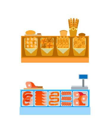 Butcher and bakery departments empty desks vector. Sellers counters with baked products, raw meat food on shelves. Bread and sausages in supermarket Foto de archivo - 127087657