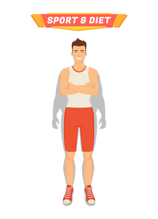 Sport and diet poster with man and transformation of his body. Fat shade of male and strong muscular sportsman smiling happily. Healthy human vector Illustration