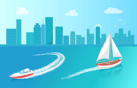 Modern yacht and sail boat, marine nautical personal ship icon. Sail boat with white canvas sailing in deep blue waters and leave trace vector near houses