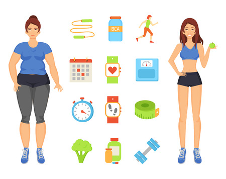 Woman sportive and fat lady. Isolated icons set with person transforming body, eating vegetables and fruits. Workouts and training exercises vector Ilustração