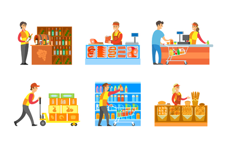 Supermarket departments winery bakery stores with professional sellers vector. Butchers and grocery cashier with clients and products, milk and juices Illustration