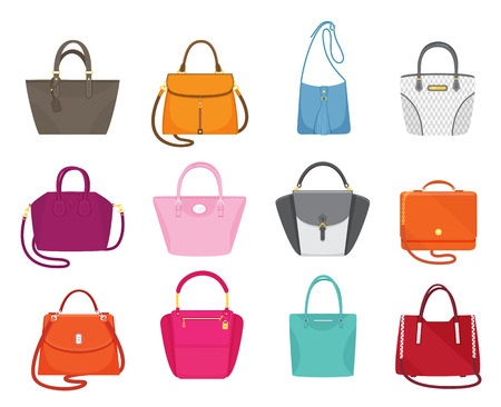 Women handbags collection of fashionable items isolated icons set vector. Bags with zippers and pockets, handles and adjustable shoulder straps lace Vektorgrafik