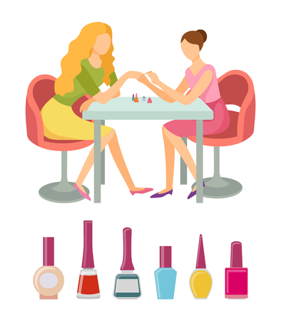 Spa salon manicure bottles polishers in containers vector. Manicurist working with woman, nail art. Service of painting fingernails by professional Illustration