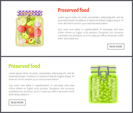 Preserved food banners, tomatoes with cucumber slice and grapes. Jar of vegetables or berries in marinade web pages templates vector illustrations. Иллюстрация