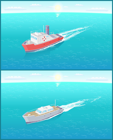 Steamboat marine transport vessels sailing in sea or ocean leaving traces in water. Transportation sailboats on skyline, speedboat floating vector icon