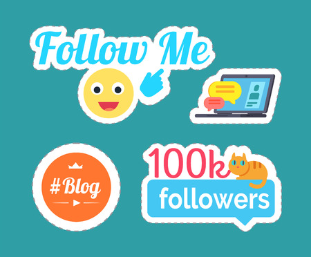 Follow me smile, emoticon showing on text and followers statistics with cat set vector. Stickers and patches, blog and laptop screen with chat box