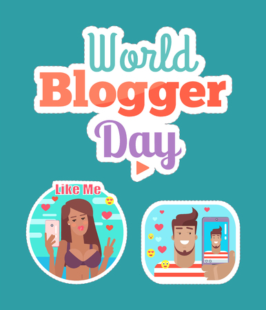 World blogger day woman and man blogging and streaming sticker set vector. Patches of female and male, social networking and smileys emojis video