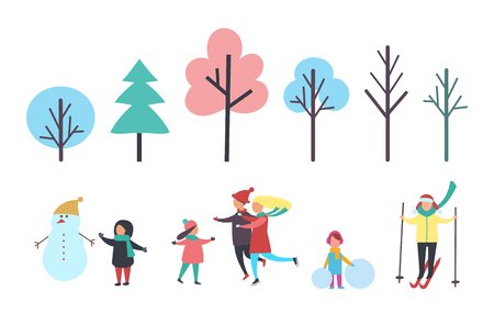 Winter child with snowman wearing hat, family skating with kid. Trees isolated icons, pine evergreen plant. Person skiing and girl with snow vector Zdjęcie Seryjne - 127087676
