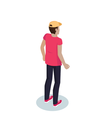 Courier delivery man three dimensional icon. 3D of person delivering parcels post wearing uniform with cap. Profession of mailman isolated on vector Фото со стока - 127087677