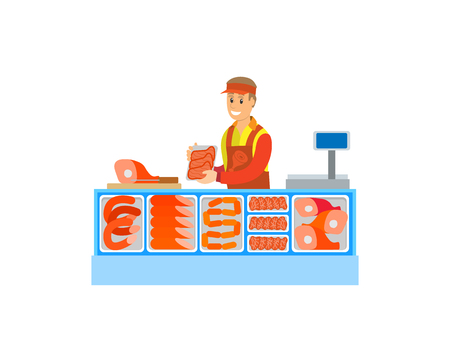 Butchers department in supermarket store vector. Salesperson consultant with sausages meat, pork and fat slices. Food and raw meal seller by counter Foto de archivo - 127087678