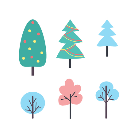 Set of winter trees icons vector. New year and Christmas plants, silhouettes of hand drawn oak and birch doodles. Decorated Xmas fir with garland