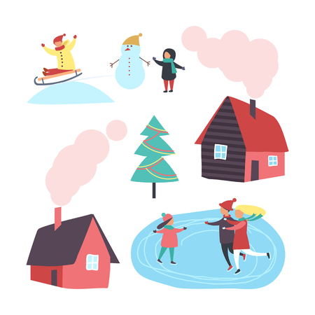House and winter activities of people set vector. Homes with chimneys and smoke, child with snowman, family skating on ice. Hobbies in wintertime Ilustração