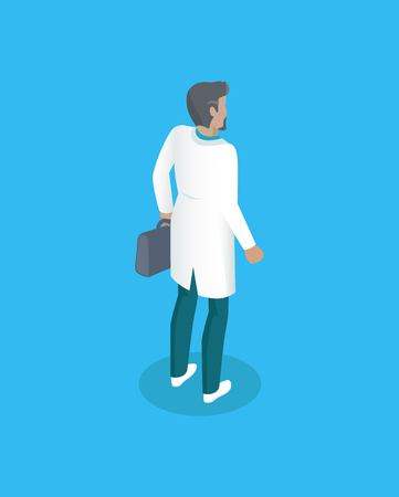 Medical man in white coat with case or first aid kit package from back. Isometric personage healthcare worker in overall in static standing pose. Illustration