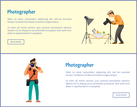 Still life photographer and journalist online banners set. Fruit near teapot as composition for photo, man with digital camera vector illustrations.