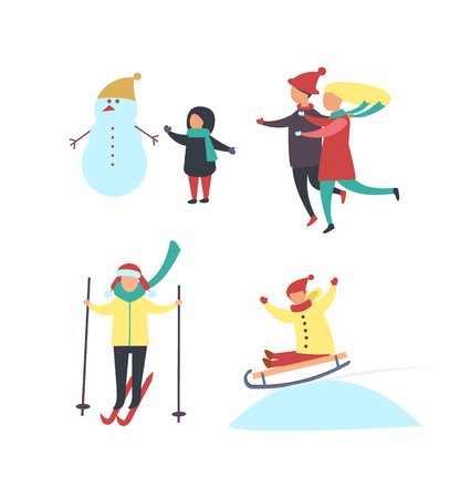 Winter season fun, activities of people in wintertime vector . Child building snowman, mother and father running to kid. Skiing and riding sledges