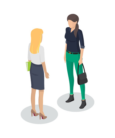 Secretary and client meeting 3d isometric. Icons of businesslady and customer holding handbag. Formal seance of worker with woman isolated on vector