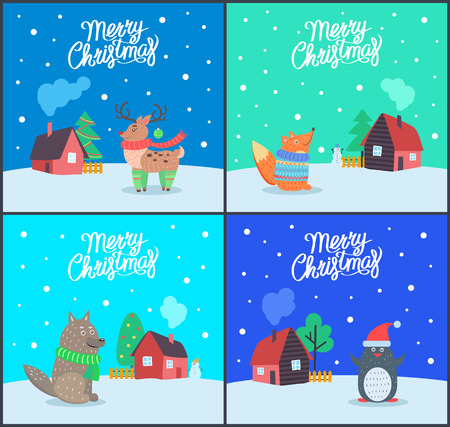 Merry Christmas animals and greeting posters with text vector. Fox wearing knitted sweater, reindeer with horns. Wolf with scarf and penguin with hat