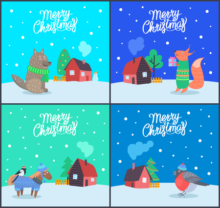 Merry Christmas greeting text posters vector. Animals with households, fox and wolf, bullfinch bird standing on horse back. Homes and snowing weather