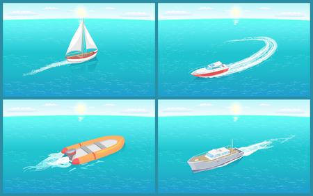 Water Transport Sailing Boat Motor Set Vector Reklamní fotografie