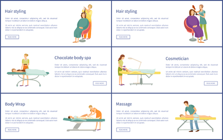 Hair Styling and Chocolate Spa Posters Vector