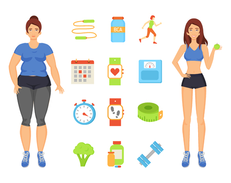 Woman Sportive and Fat Lady Vector Illustration