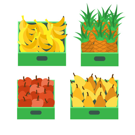 Banana Tropical Fruit and Pineapple Set Vector Foto de archivo - 113462913