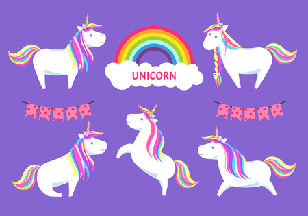 Unicorn Magic Creature Decorative Clouds Vector 스톡 콘텐츠