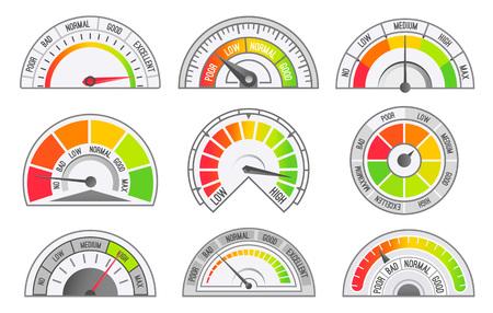Velocímetro y cuentakilómetros escalas y punteros iconos aislados conjunto de vectores. Tacómetro para medición de velocidad y kilómetros, instrumento de medición de millas Ilustración de vector
